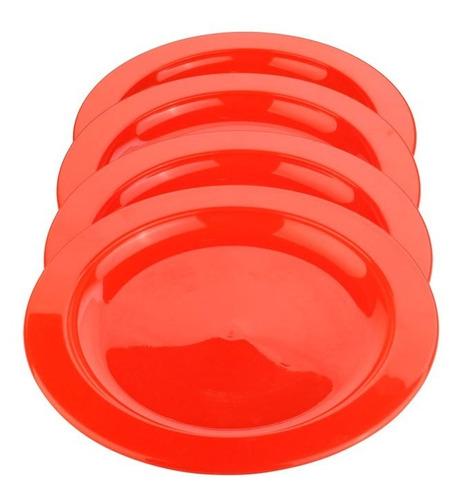 Platos De Plástico, Set X 4 Reutilizables, Calidad Superior