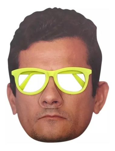 Máscara De Papel Sérgio Moro Com Óculos Carnaval Meme