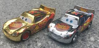Miniaturas Carros Disney Mc Queem Prata E Dourado