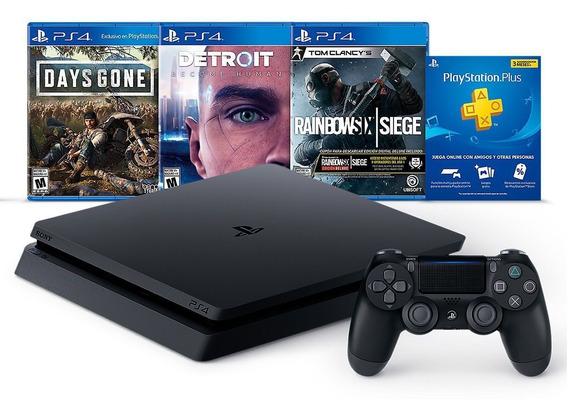 Playstation 4 Ps4 Hits Bundle 5 Slim 1tb + Ds +3 Juegos