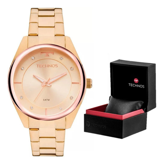 Relógio Feminino Technos Trend 2035mkw/4x Pulseira Dourada