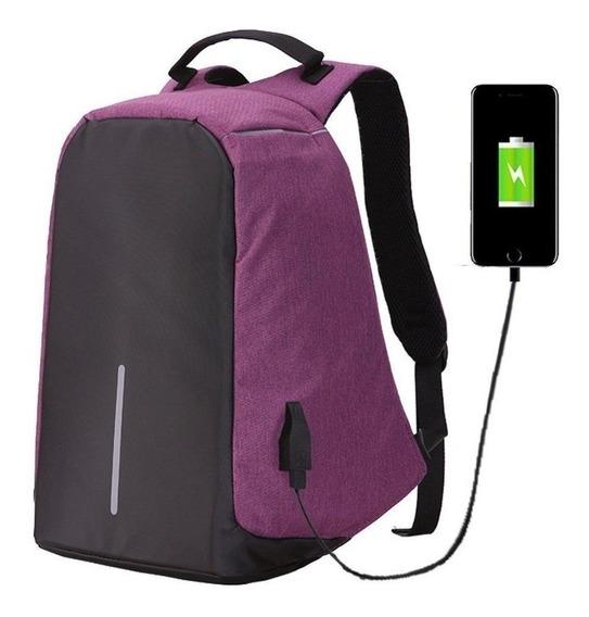 Mochila Antirrobo Notebook Smart Carga Usb Celular Tablet
