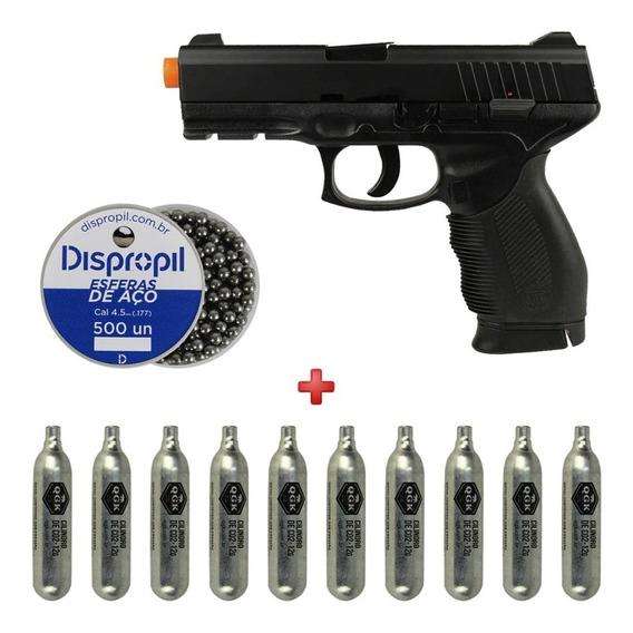 Pistola Pressão Gás Co2 24/7 4.5mm + Esferas Aço 500un + Co2