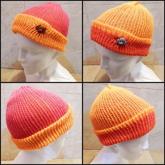 Gorro Doble Vista Tejido Naranja Rosa Crochet Unisex Perrito