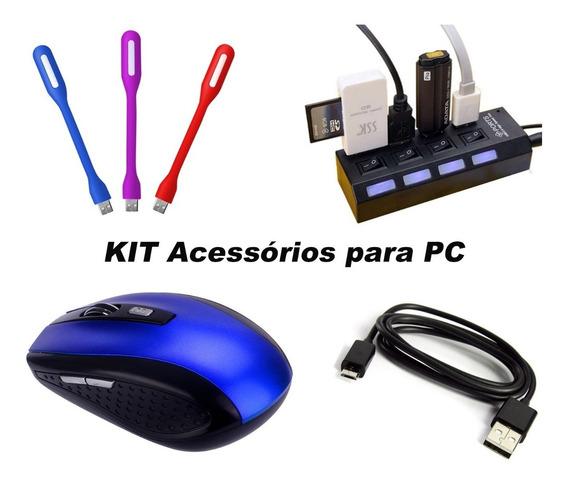 Kit Acessórios Para Pc Notebook Informática Mouse Hub E Led