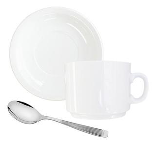 Set Taza Plato + Cucharita De Te Porcelana Germer + Mykonos
