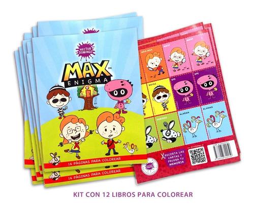 Kit Libros Infantiles Colorear Y Actividades Max Enigma 12pz