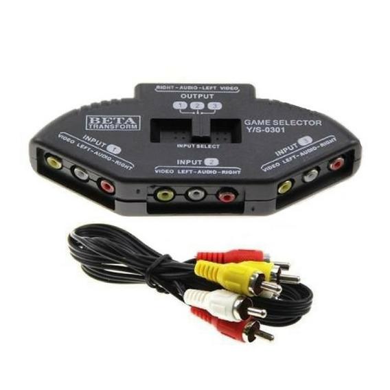 Chave Seletora De Áudio E Vídeo, Chaveador Rca + Cabo Av