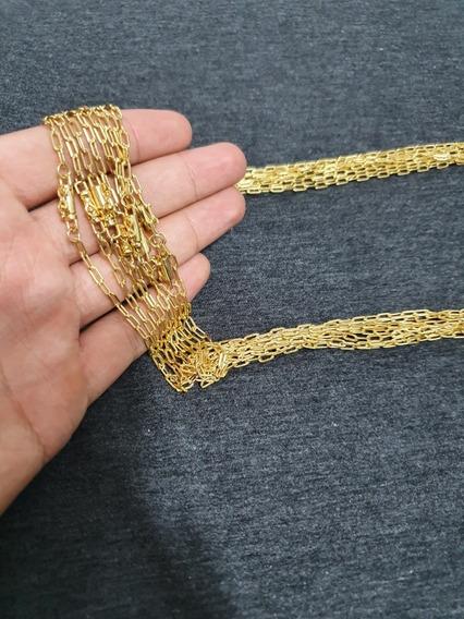 5 Cordões Masculinos Tijolinho Fecho Canhão Banhado A Ouro18