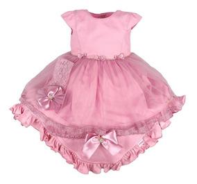 Saida Maternidade Bebê Menina Paraiso Vestido Faixa Ref 7579