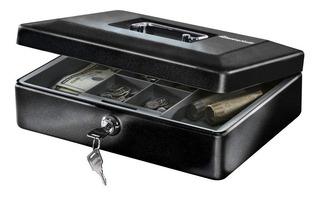 Caja De Dinero Billetes Y Monedas Para Negocio Metal Negra
