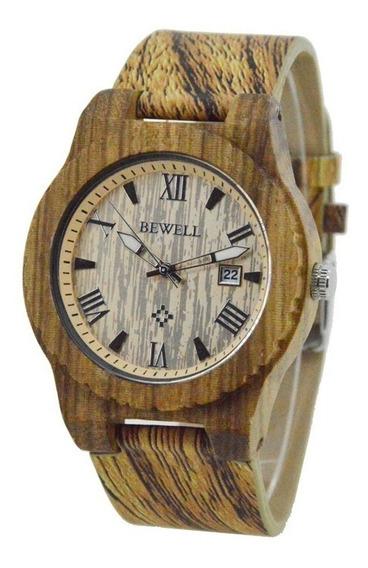 Relógio Madeira Bewell Original Marrom Claro Zebrado Unissex