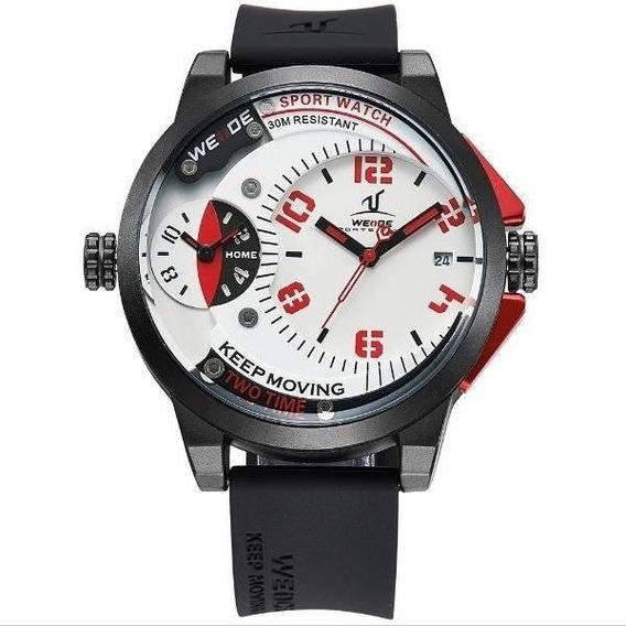 Relógio Masculino Weide Analógico Uv-1501 Preto E Vermelho