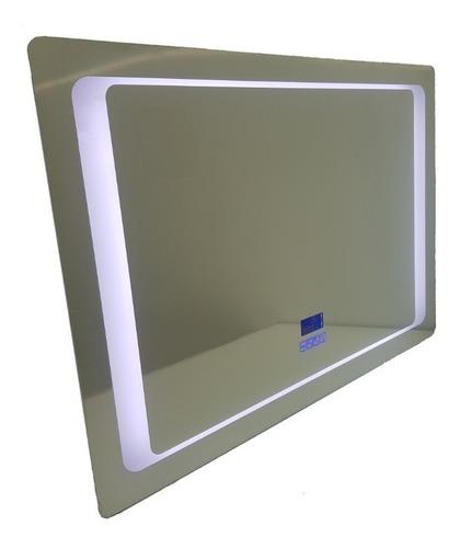 Espejo Baño Luz Led Bluetooth Antiempañante Reloj 80 X 70