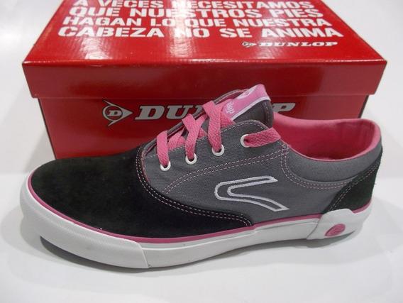 Zapatilla Urbana Sneaker Dunlop Lona Y Cuero - Oferta
