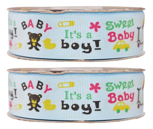 Imagen 1 de 3 de Listón Popotillo Estampado Baby Shower,2 Piezas,014-1-b