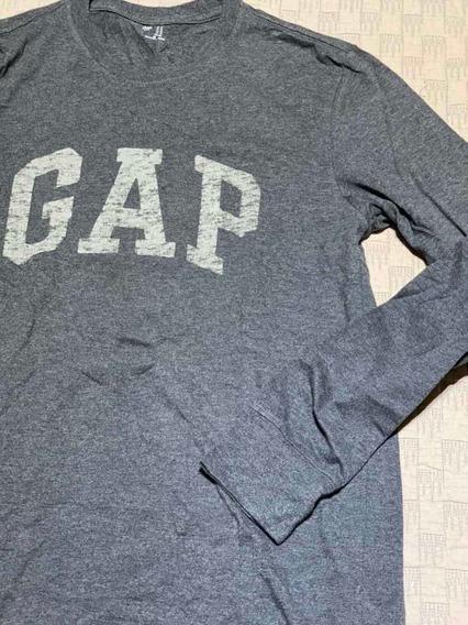Remera Gap Manga Larga Gris M