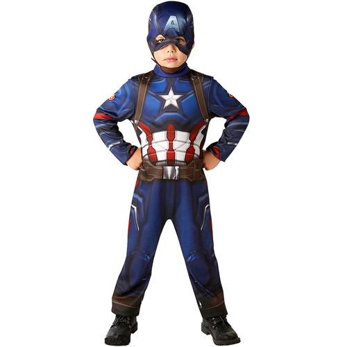 Disfraz Capitan America Musculos Y Mascara Licencia Marvel