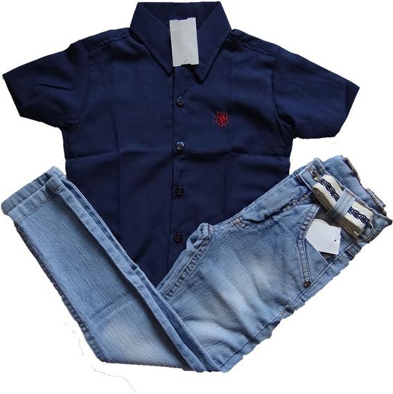 Camisa Social Manga Curta + Calça Jeans Infantil Masculina