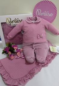 Saida Maternidade Paraiso Bebe Menina Plush Macacao Ref 9663