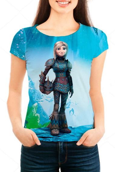 Camiseta Babylook Feminina Treinar Seu Dragão 3 Astrid Mn01