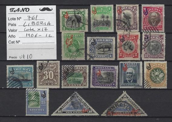 Lote761 Liberia Lote De 17 Estampillas Años 1906-12