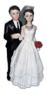 Topo De Bolo Casamento Casal Noivos Noivinhos Resina 14,5 Cm