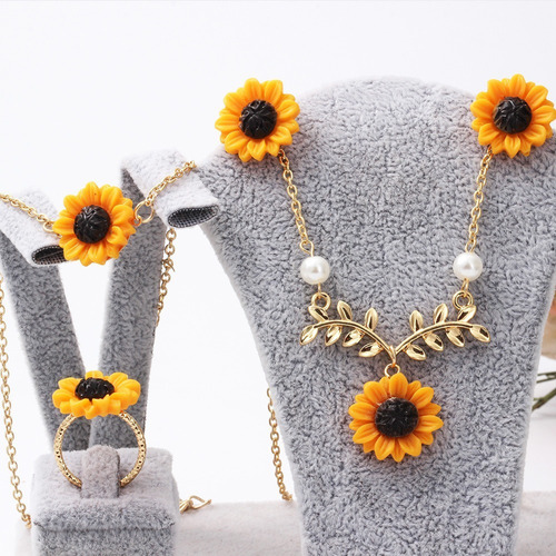 Conjunto De Collar, Aros Y Brazalete P/mujer, Diseño Girasol