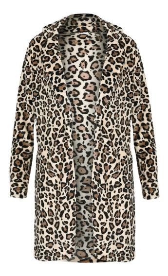 Abrigo Con Estampado De Leopardo De Las Mujeres Furry