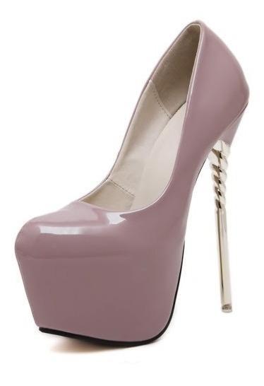 Sapato De Salto Alto Com Plataforma Meia Pata 16 Cm Verniz