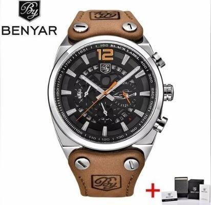 Relógio Benyar Prata/laranja Luxo Esportivo Analógico