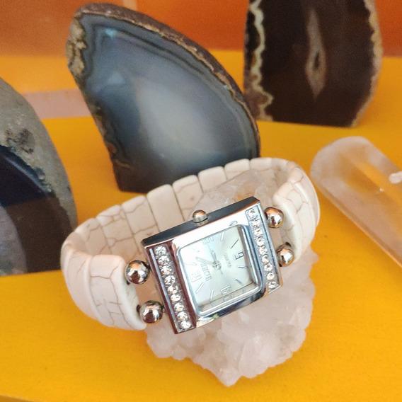 Relógio Bracelete De Pedra Natural Howlita