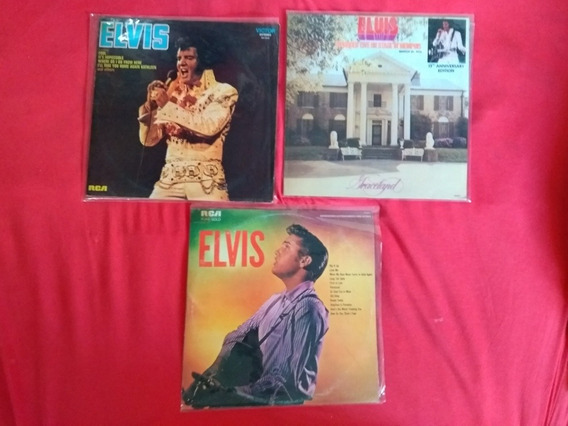 3 Lps Elvis Presley Rock Menphis Elvis 1973 Pure Gold 1982