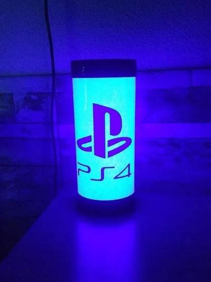 Luminária Abajur De Led Ps4 Azul Rosa Playstation Geek Game
