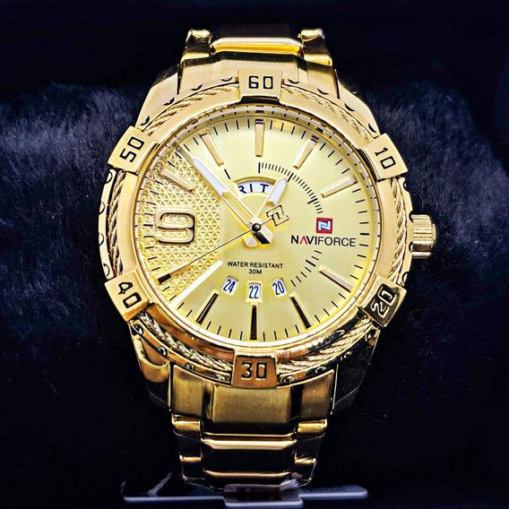 Relogio Masculino Dourado Naviforce Importado De Luxo