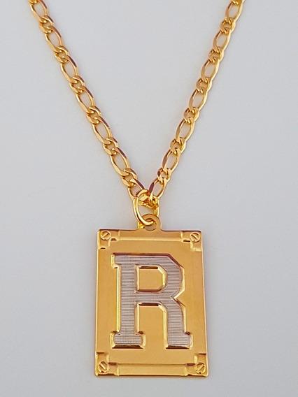 Corrente Cordão 60 Cm Pingente Letra R Banhado Ouro. C56r19