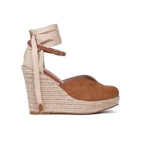 228142d0f0 Sandália Anabela Corda Marrom Fita Feminino - Sapatos no Mercado ...