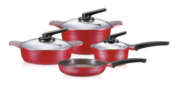 Batería Ollas De Cocina Roichen 7 Piezas Granito - Rojo