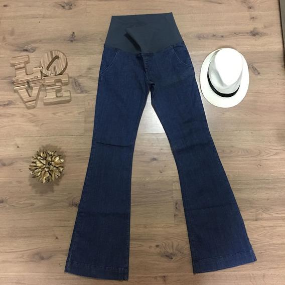 Calça Jeans Gestante Flare Bolso Faca Azul Gravida