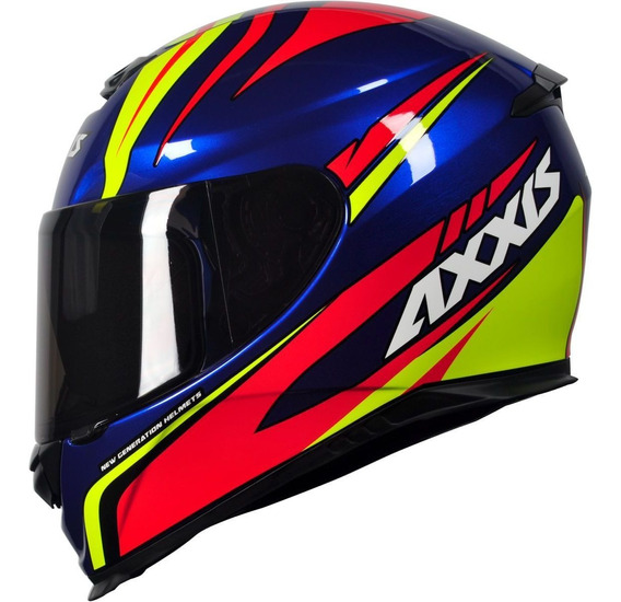 Capacete Moto Axxis Mt Helmets Hybrid Gloss Race Blue Motogp