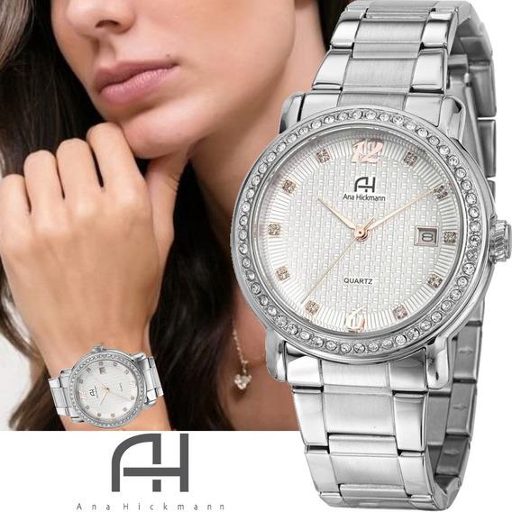 Relógio Feminino Ana Hickmann Prateado Com Strass Todo Em Aço Original Ah28615q