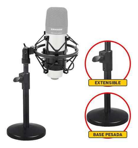 Pie Microfono De Mesa Con Araña Shockmount Regulable Cuotas