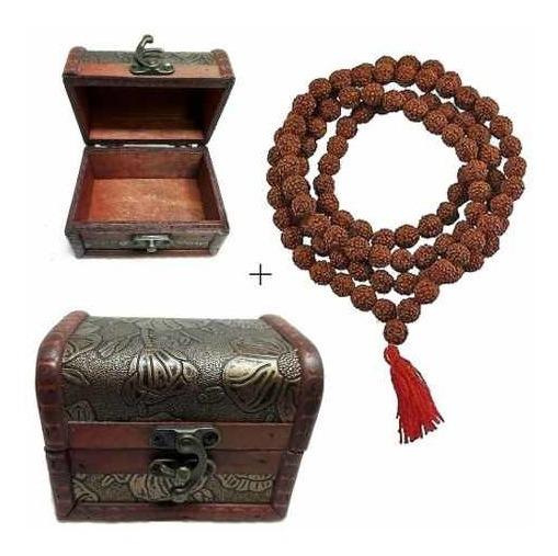 Japa Mala Com Caixinha- 108 Contas Rudraksha Hindu