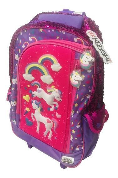 Mochila Carro Kooshi Pony 3d 17p Lentejuela Reversible Wabro