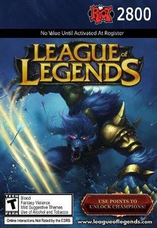 League Of Legends Lol - Cartão 2800 Riot Points Rp Br
