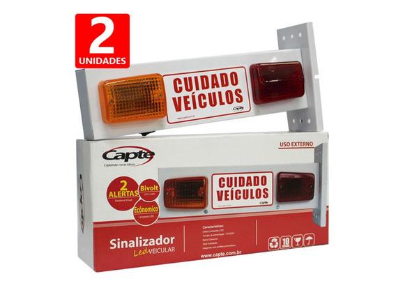 Sinalizador De Garagem Sonoro Veicular Para Portão Led 2 Und