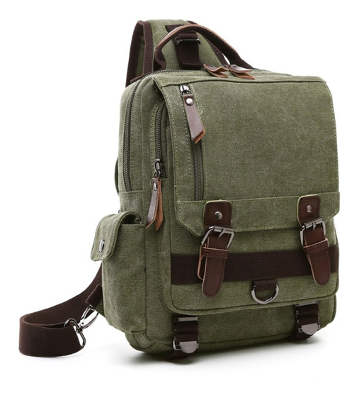 Mochila Bolsa Backpack Canvas Retro Piel Cruzada Hombro