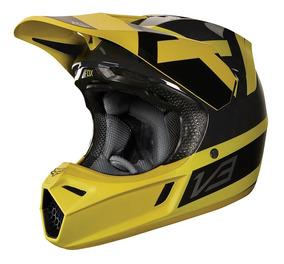 Capacete Fox V3 Preest - Amarelo/preto