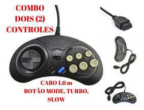2 Controle Mega Drive 6 Botoes Novo Compativel Sega Tectoy