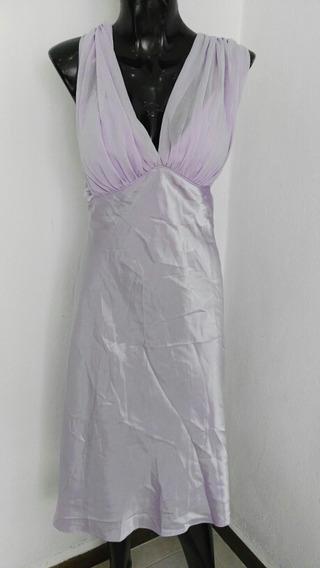 Bonito Vestido De Fiesta Lila Satinado Talla 9